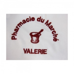 broderie lettres imprimeries + mortier Pharmacie